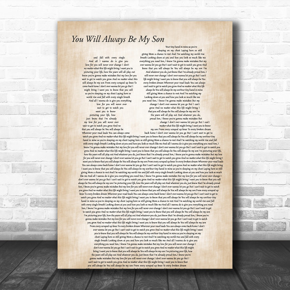 Anthem Lights You Will Always Be My Son Father & Child Decorative Gift Song Lyric Print