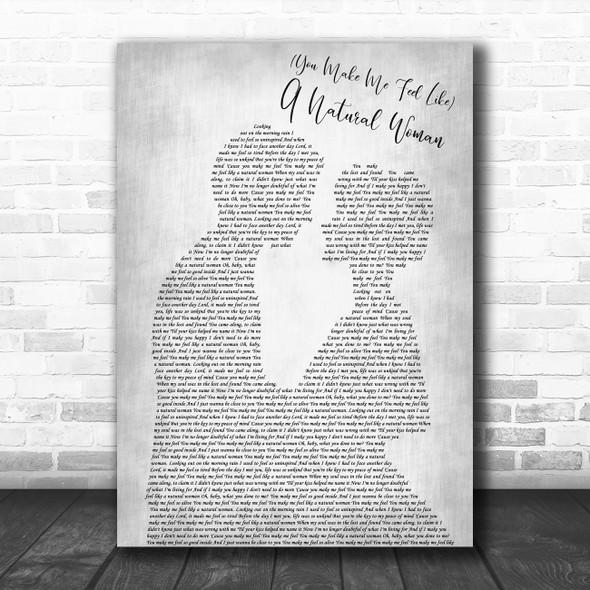Aretha Franklin (You Make Me Feel Like) A Natural Woman Man Lady Bride Groom Wedding Grey Song Lyric Print