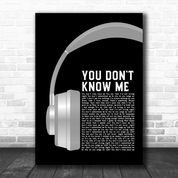 Armand Van Helden You Don't Know Me Grey Headphones Decorative Wall Art Gift Song Lyric Print