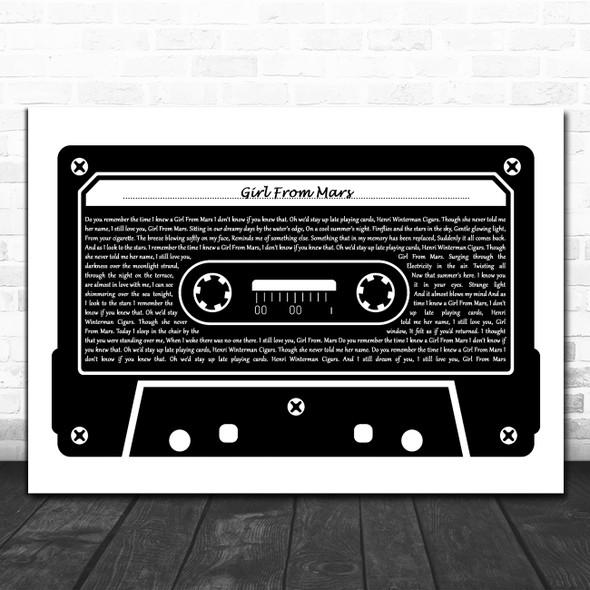 Ash Girl From Mars Black & White Music Cassette Tape Decorative Gift Song Lyric Print