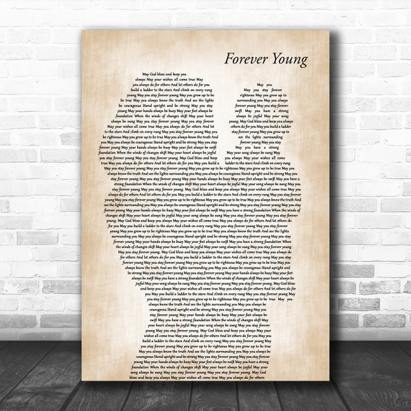 Audra Mae Forever Young Mother & Baby Decorative Wall Art Gift Song Lyric Print
