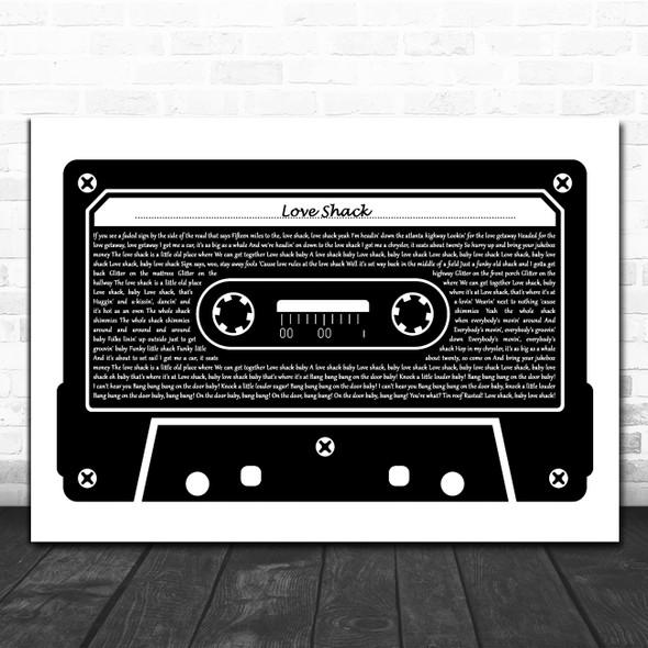 B-52's Love Shack Black & White Music Cassette Tape Decorative Gift Song Lyric Print