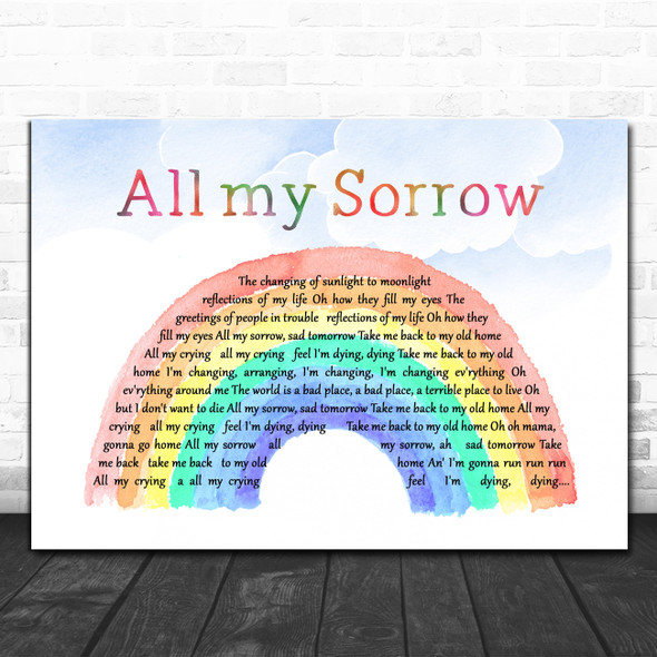 BeeGees All my Sorrow Watercolour Rainbow & Clouds Decorative Gift Song Lyric Print