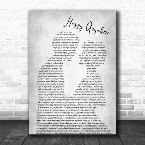 Blake Shelton Happy Anywhere Man Lady Bride Groom Wedding Grey Song Lyric Print