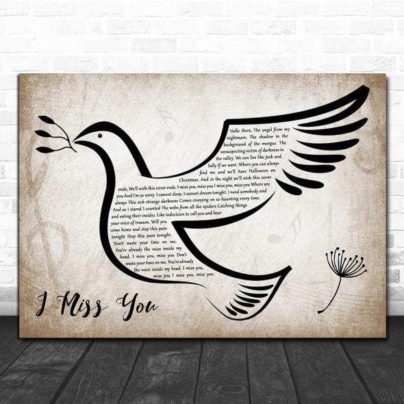 Blink-182 I Miss You Vintage Dove Bird Decorative Wall Art Gift Song Lyric Print
