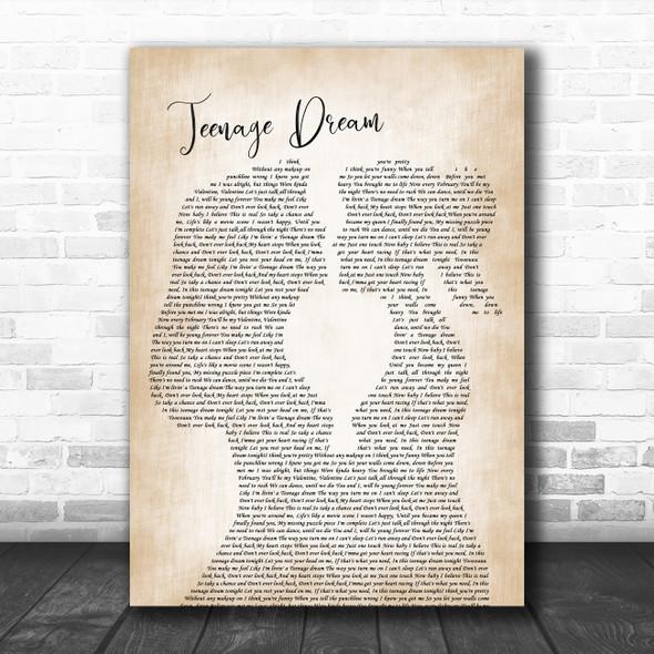 Boyce Avenue Teenage Dream Lesbian Women Gay Brides Couple Wedding Wall Art Gift Song Lyric Print
