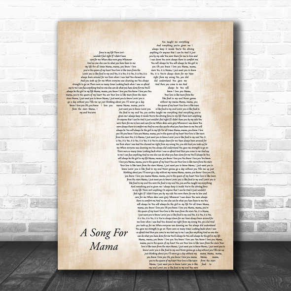 Boyz II Men A Song For Mama Mother & Child Decorative Wall Art Gift Song Lyric Print