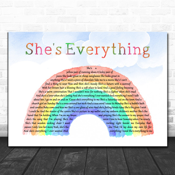 Brad Paisley She's Everything Watercolour Rainbow & Clouds Decorative Gift Song Lyric Print