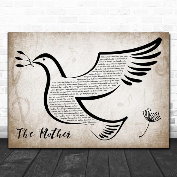 Brandi Carlile The Mother Vintage Dove Bird Decorative Wall Art Gift Song Lyric Print