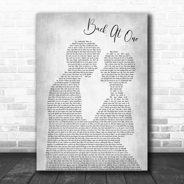 Brian McKnight Back At One Man Lady Bride Groom Wedding Grey Song Lyric Print