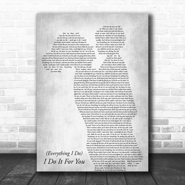 Bryan Adams (Everything I Do) I Do It For You Mother & Child Grey Wall Art Gift Song Lyric Print