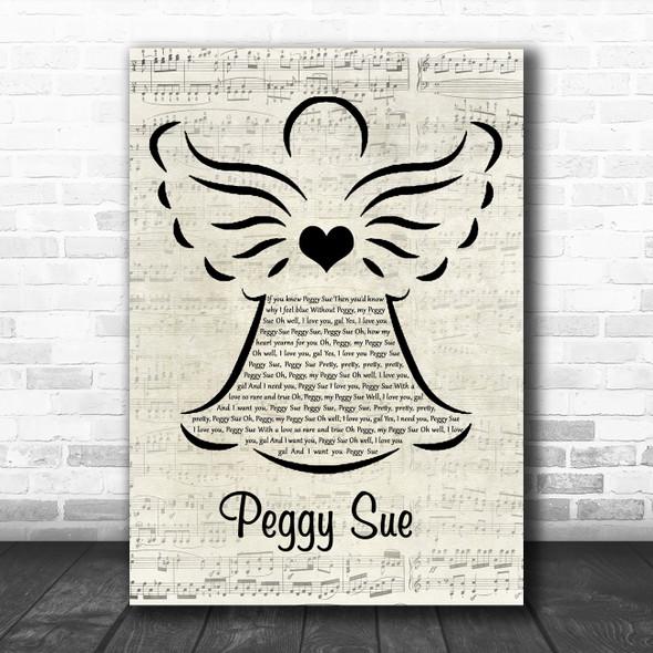 Buddy Holly Peggy Sue Music Script Angel Decorative Wall Art Gift Song Lyric Print