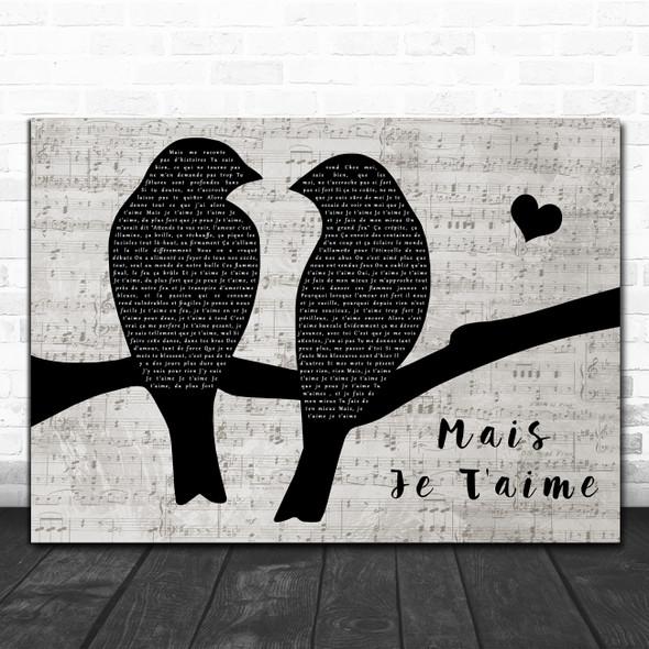 Camille Lellouche, Grand Corps Malade Mais Je T'aime Lovebirds Music Script Wall Art Song Lyric Print