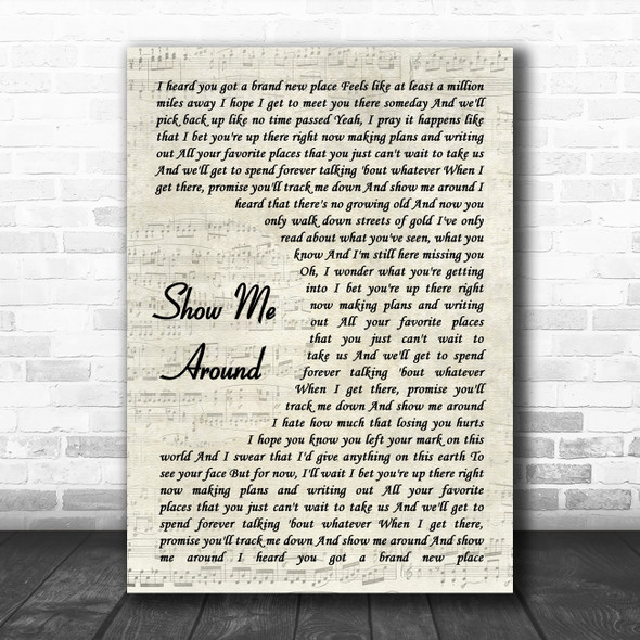 Carly Pearce Show Me Around Vintage Script Decorative Wall Art Gift Song Lyric Print
