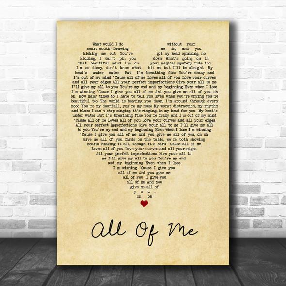 All Of Me John Legend Vintage Heart Song Lyric Music Wall Art Print