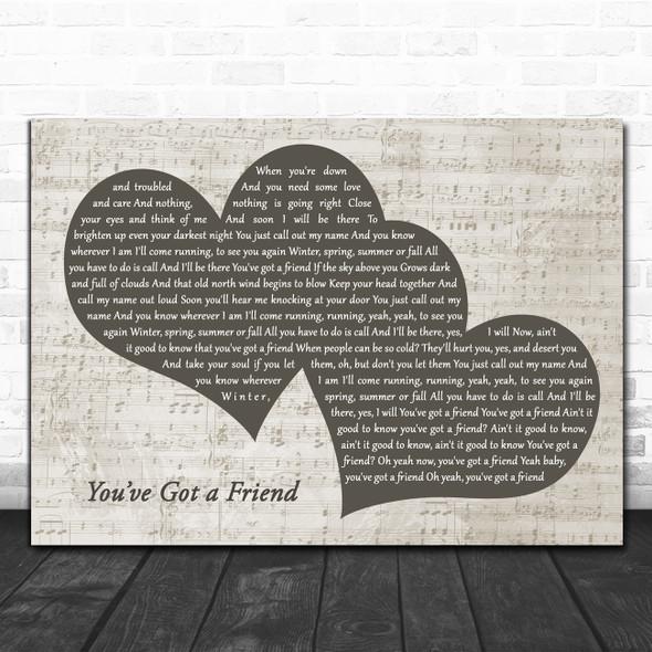 Carole King You've Got a Friend Landscape Music Script Two Hearts Wall Art Gift Song Lyric Print