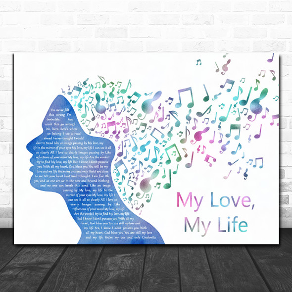 """Cast Of """"Mamma Mia! Here We Go Again"""" My Love, My Life Colourful Music Note Hair Song Lyric Print"""