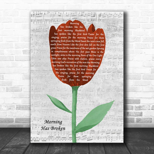 Cat Stevens Morning Has Broken Grey Script Watercolour Tulip Song Lyric Print
