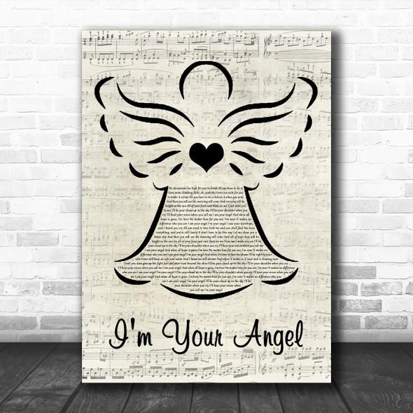 Celine Dion & R. Kelly I'm Your Angel Music Script Angel Decorative Wall Art Gift Song Lyric Print