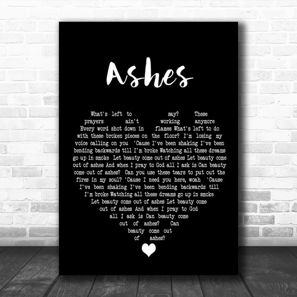 Celine Dion Ashes Black Heart Decorative Wall Art Gift Song Lyric Print