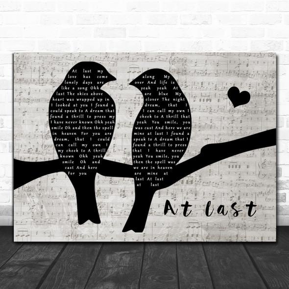 Celine Dion At Last Lovebirds Music Script Decorative Wall Art Gift Song Lyric Print