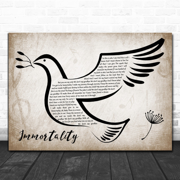 Celine Dion Immortality Vintage Dove Bird Decorative Wall Art Gift Song Lyric Print