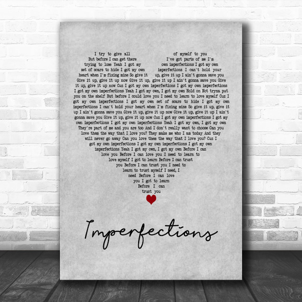 Celine Dion Imperfections Grey Heart Decorative Wall Art Gift Song Lyric Print