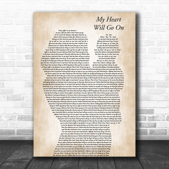 Celine Dion My Heart Will Go On Mother & Baby Decorative Wall Art Gift Song Lyric Print