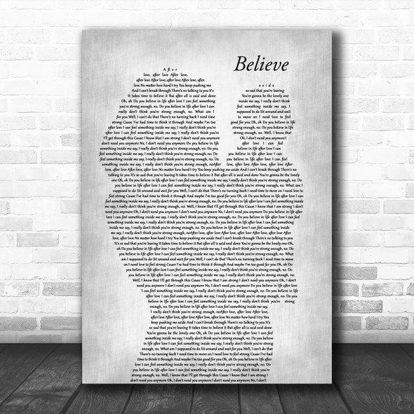 Cher Believe Mother & Baby Grey Decorative Wall Art Gift Song Lyric Print