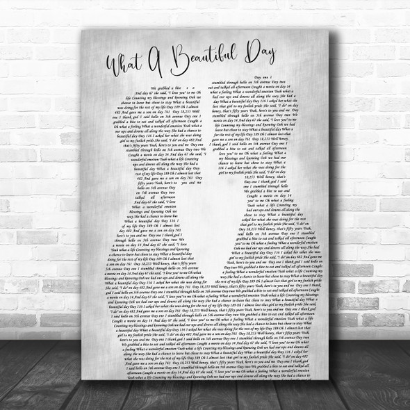 Chris Cagle What A Beautiful Day Two Men Gay Couple Wedding Grey Wall Art Gift Song Lyric Print