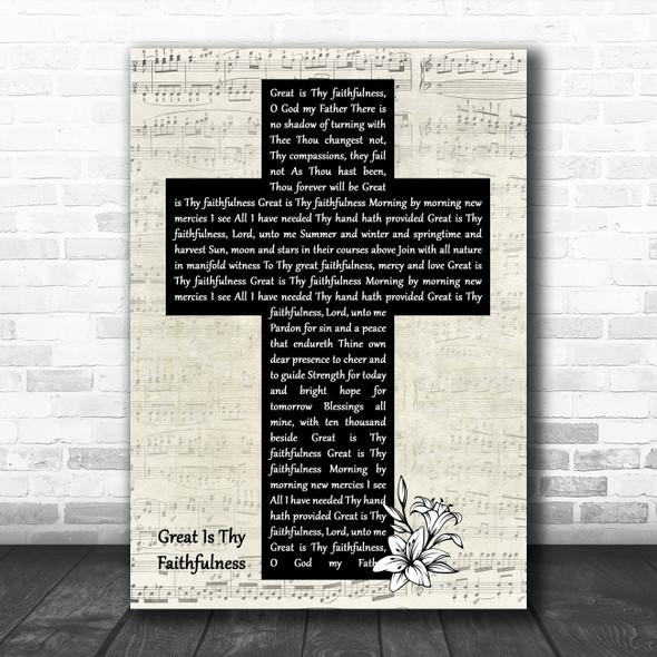 Chris Rice Great Is Thy Faithfulness Music Script Christian Memorial Cross Song Lyric Print