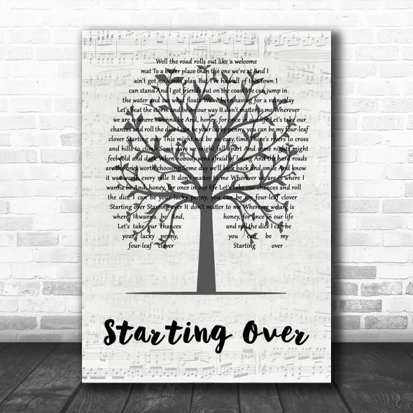 Chris Stapleton Starting Over Music Script Tree Decorative Wall Art Gift Song Lyric Print