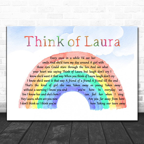 Christopher Cross Think of Laura Watercolour Rainbow & Clouds Song Lyric Print