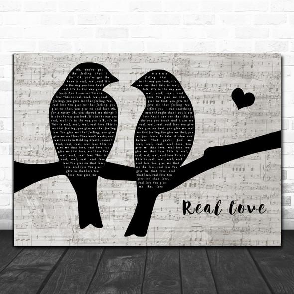 Clean Bandit & Jess Glynne Real Love Lovebirds Music Script Wall Art Song Lyric Print