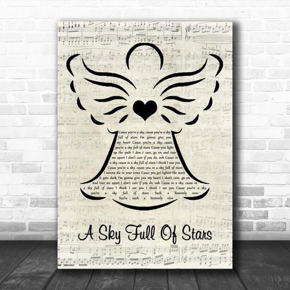 Coldplay A Sky Full Of Stars Music Script Angel Decorative Wall Art Gift Song Lyric Print
