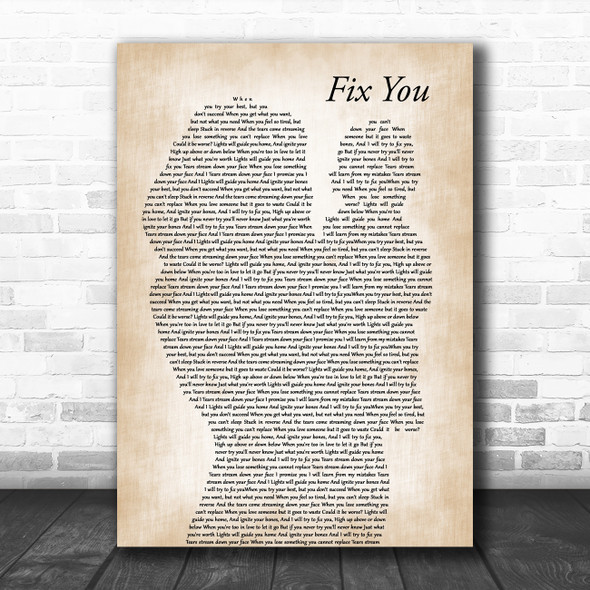 Coldplay Fix You Mother & Baby Decorative Wall Art Gift Song Lyric Print