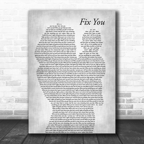 Coldplay Fix You Mother & Baby Grey Decorative Wall Art Gift Song Lyric Print