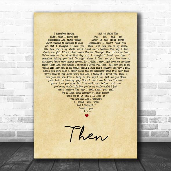Brad Paisley Then Vintage Heart Song Lyric Music Wall Art Print