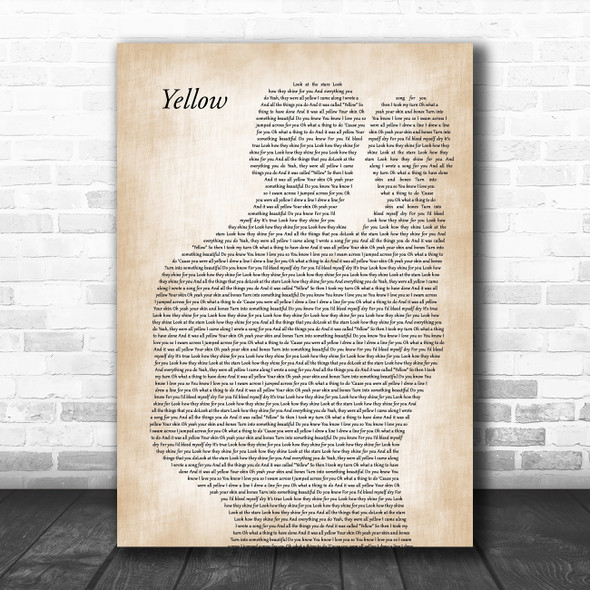 Coldplay Yellow Father & Baby Decorative Wall Art Gift Song Lyric Print