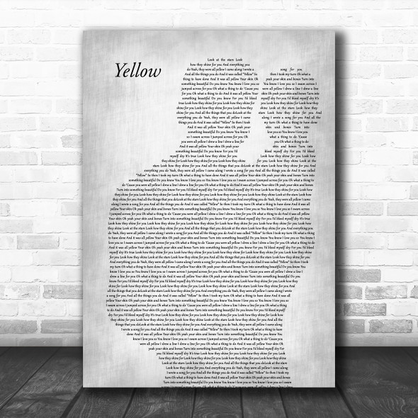 Coldplay Yellow Father & Baby Grey Decorative Wall Art Gift Song Lyric Print