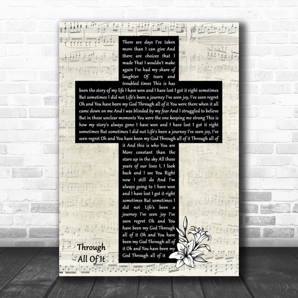 Colton Dixon Through All Of It Music Script Christian Memorial Cross Gift Song Lyric Print