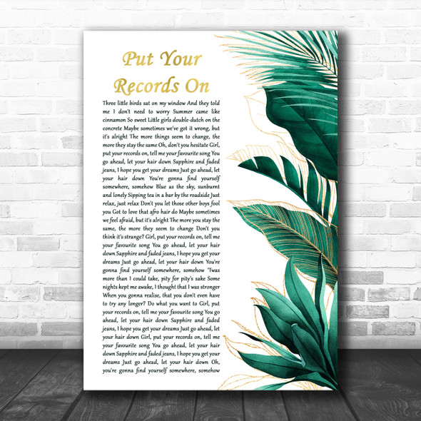 Corinne Bailey Rae Put Your Records On Gold Green Botanical Leaves Side Script Song Lyric Print