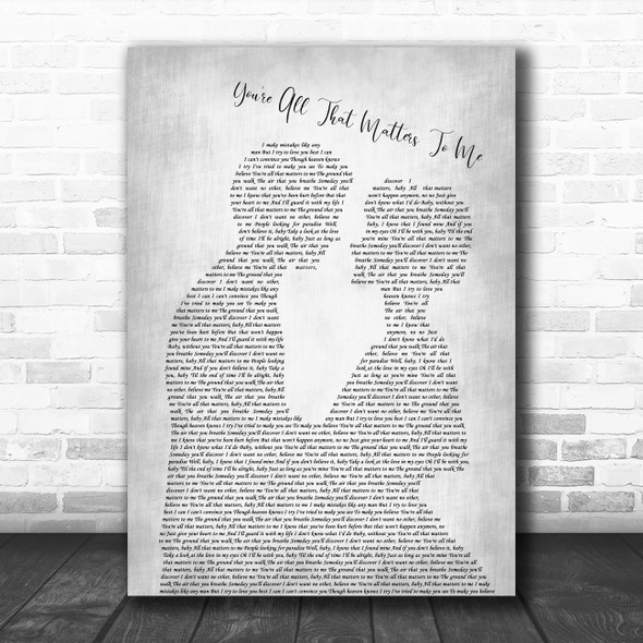 Curtis Stigers You're All That Matters To Me Man Lady Bride Groom Wedding Grey Song Lyric Print
