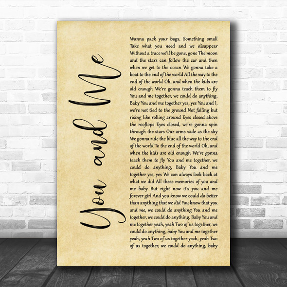 Dave Matthews Band You And Me Rustic Script Decorative Wall Art Gift Song Lyric Print