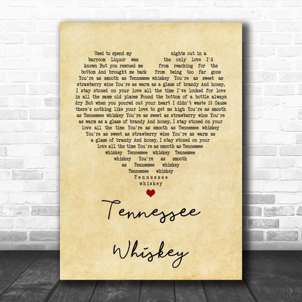 Chris Stapleton Tennessee Whiskey Vintage Heart Song Lyric Music Wall Art Print