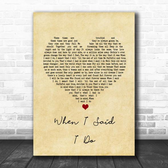 Clint Black When I Said I Do Vintage Heart Song Lyric Music Wall Art Print