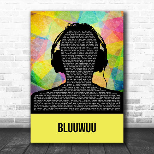Digga D Bluuwuu Multicolour Man Headphones Decorative Wall Art Gift Song Lyric Print