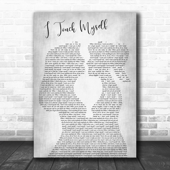 Divinyls I Touch Myself Lesbian Women Gay Brides Couple Wedding Grey Gift Song Lyric Print