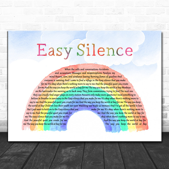 Dixie Chicks Easy Silence Watercolour Rainbow & Clouds Decorative Gift Song Lyric Print