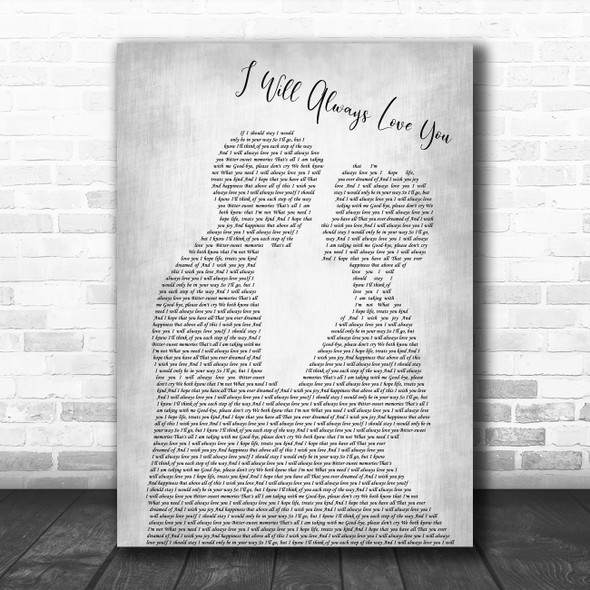 Dolly Parton I Will Always Love You Man Lady Bride Groom Wedding Grey Song Lyric Print